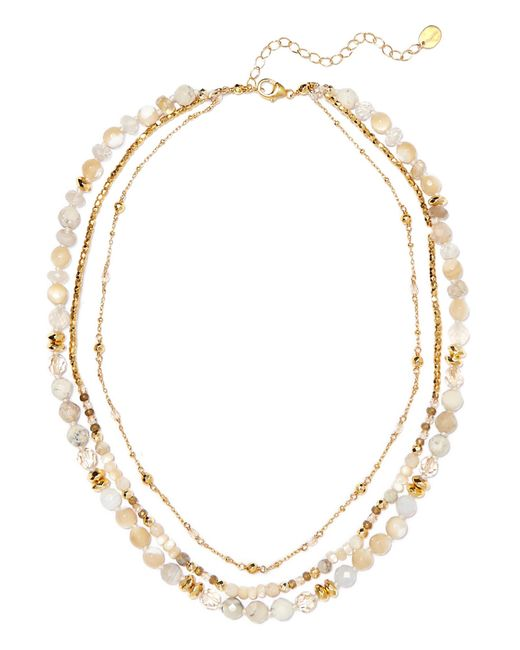 Chan Luu - Metallic Layered Gold-tone Stone Necklace - Lyst