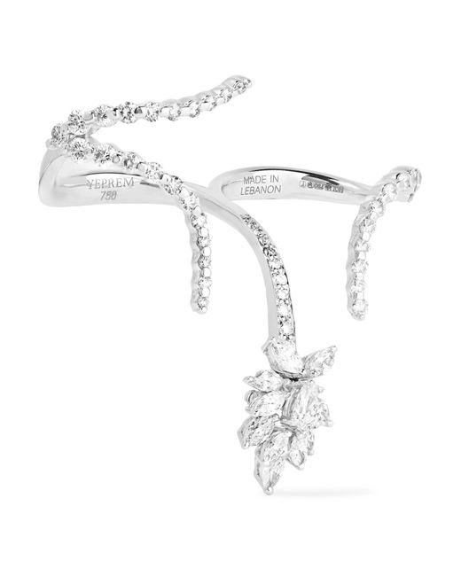 YEPREM | Metallic 18-karat White Gold Diamond Two-finger Ring | Lyst