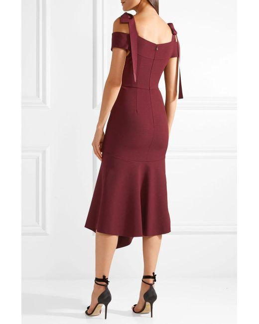 Cardinale Cold-shoulder Crepe Midi Dress - Burgundy Rebecca Vallance ErnrrivrXg