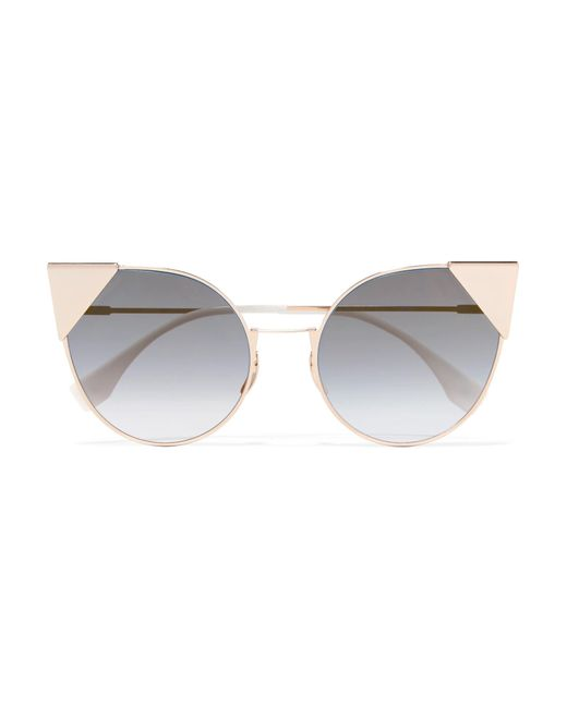 Fendi - Metallic Cat-eye Gold-tone Sunglasses - Lyst