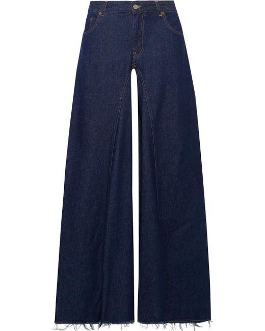 MM6 by Maison Martin Margiela - Blue Frayed High-rise Wide-leg Jeans - Lyst
