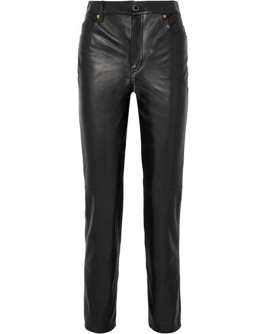Khaite - Black Victoria Leather Straight-leg Pants - Lyst