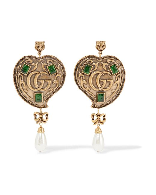Gucci | Metallic Burnished Gold-tone, Faux Pearl And Crystal Earrings | Lyst