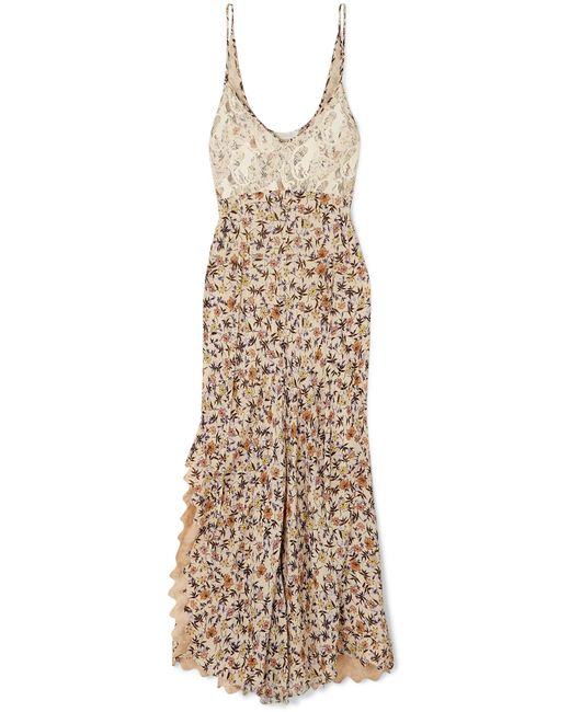 45503edf2e8 Chloé - Natural Scalloped Lace-trimmed Floral-print Crepe Dress - Lyst ...