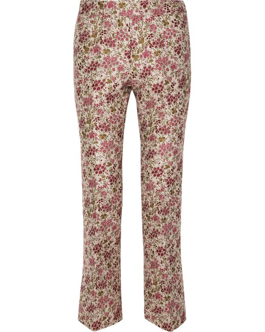 3d038c1e7016 Giambattista Valli - Red Floral-jacquard Straight-leg Pants - Lyst ...