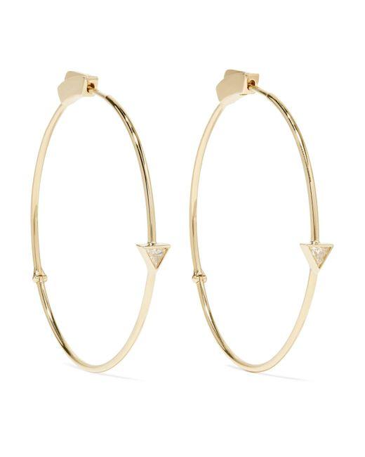 Jennifer Meyer | Metallic 18-karat Gold Diamond Hoop Earrings | Lyst