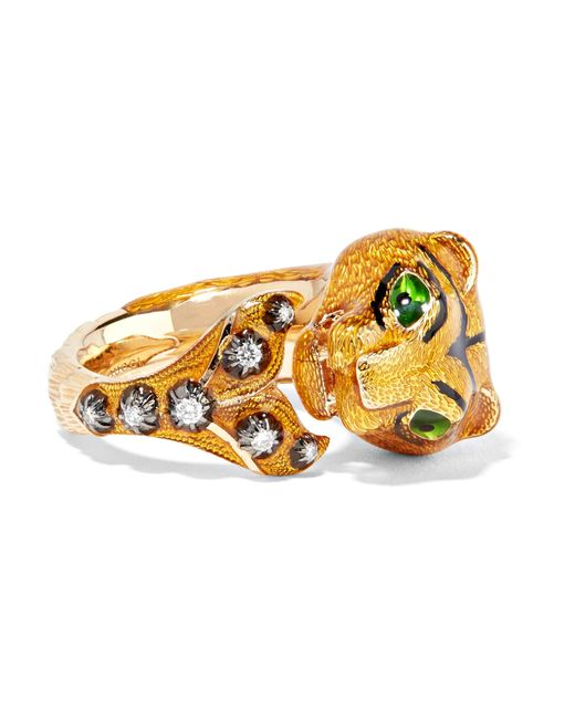 Gucci - Yellow 18-karat Gold, Diamond And Enamel Ring - Lyst