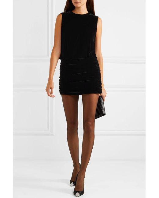 5d2e566a858 ... Saint Laurent - Black Ruched Velvet Mini Dress - Lyst ...