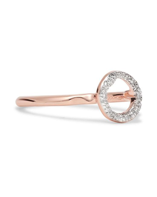 Monica Vinader - Metallic Riva Mini Circle Rose Gold Vermeil Diamond Ring - Lyst