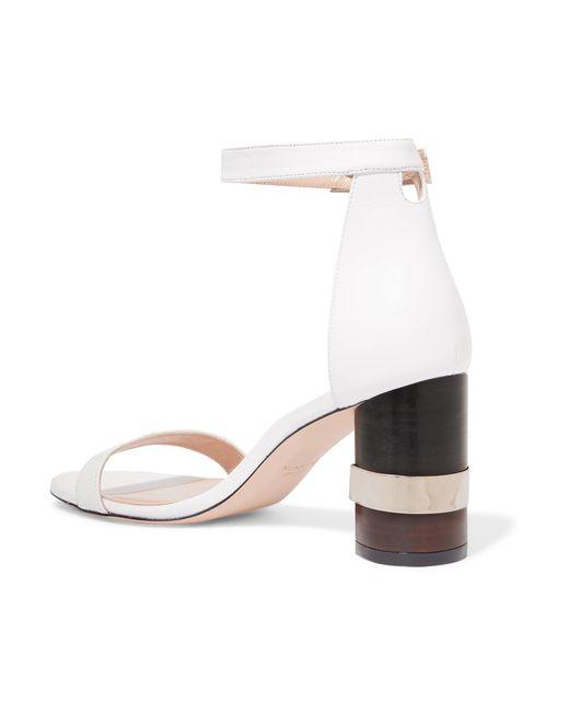 29e6a8b0bdd ... Stuart Weitzman - White Saturn Leather Sandals - Lyst ...