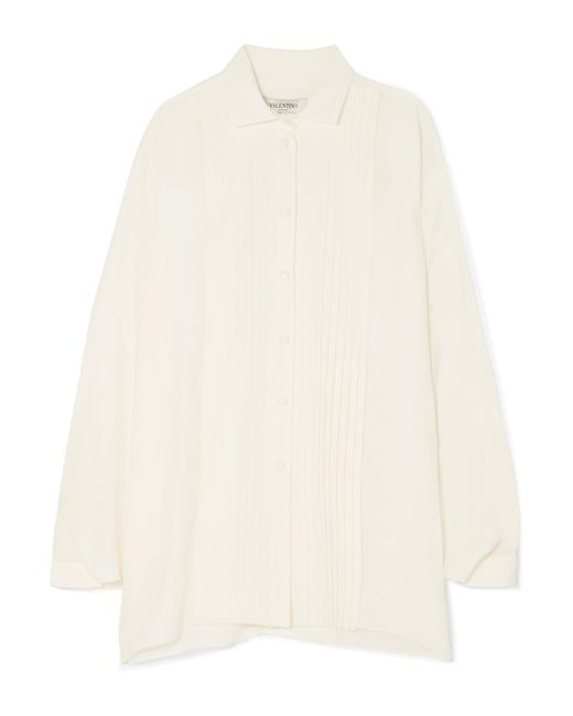Valentino - White Pleated Silk-satin Blouse - Lyst