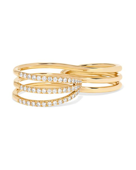 Melissa Kaye - Metallic 18-karat Gold Diamond Two-finger Ring - Lyst