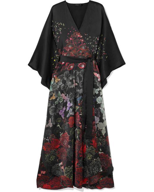 Meng - Black Floral-print Silk-satin Robe - Lyst