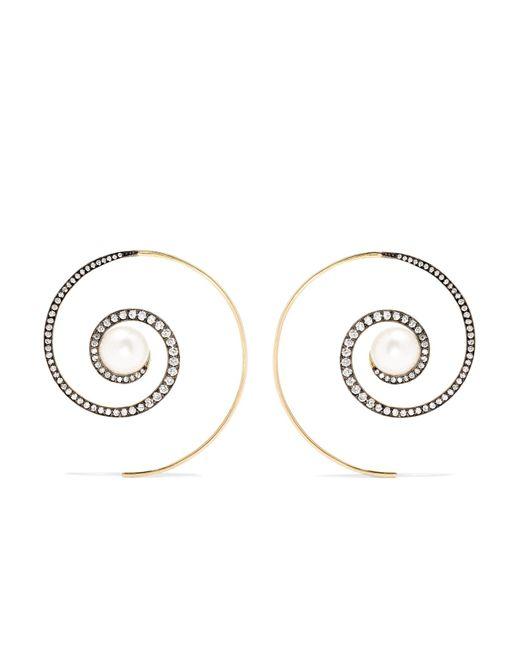 Noor Fares - Metallic Spiral Moon 18-karat Gold Diamond And Pearl Earrings - Lyst