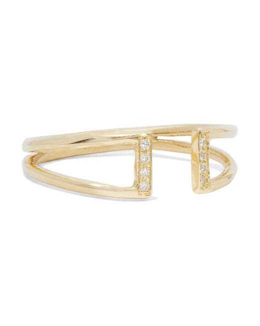 Jennie Kwon | Metallic Buckle 14-karat Gold Diamond Ring | Lyst
