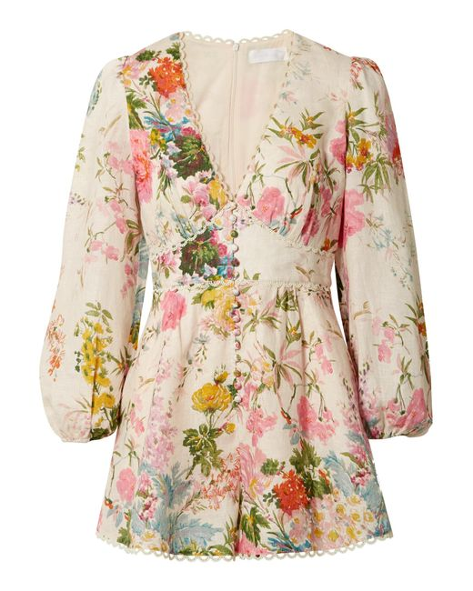 55f896871f Zimmermann - Multicolor Heathers Picot-trimmed Floral-print Linen Playsuit  - Lyst