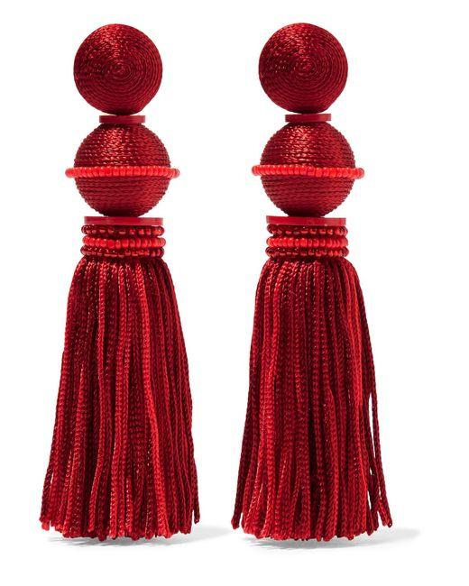 Oscar de la Renta - Red Tasseled Beaded Silk Clip Earrings - Lyst