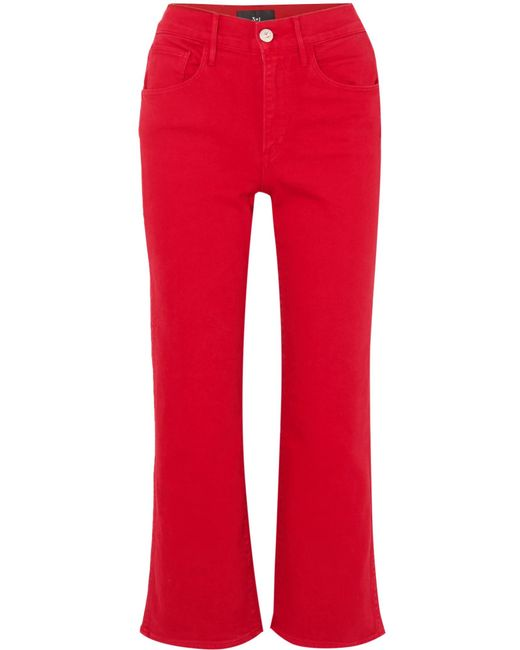 3x1 - W4 Shelter Cropped High-rise Flared Jeans Red 30 - Lyst
