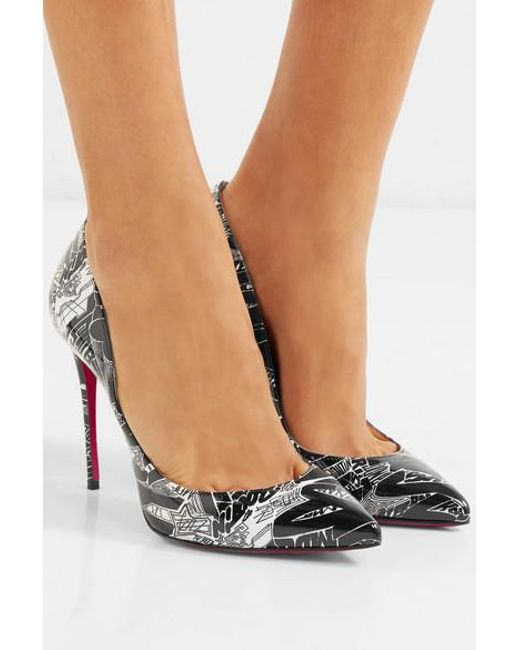 7c73b4c43 ... Christian Louboutin - Black Pigalle Follies Nicograf 100 Printed Patent-leather  Pumps - Lyst ...