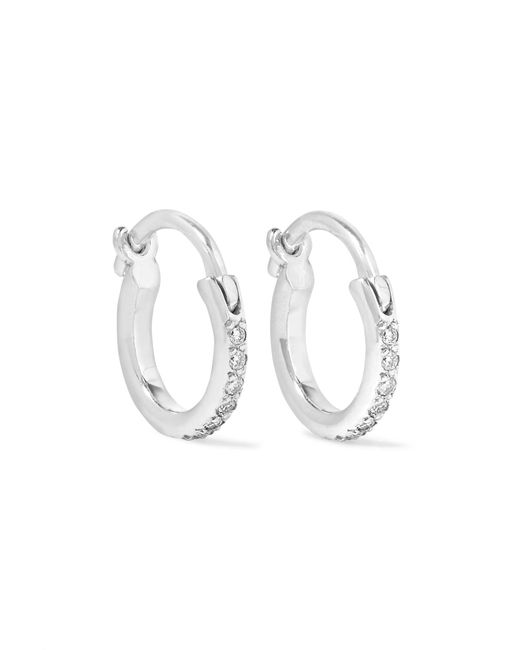 Ileana Makri - Metallic 18-karat White Gold Diamond Hoop Earrings White Gold One Size - Lyst