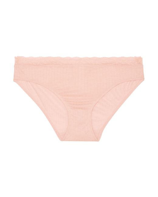 Hanro - Pink Heather Leavers Lace-trimmed Stretch-jersey Briefs - Lyst