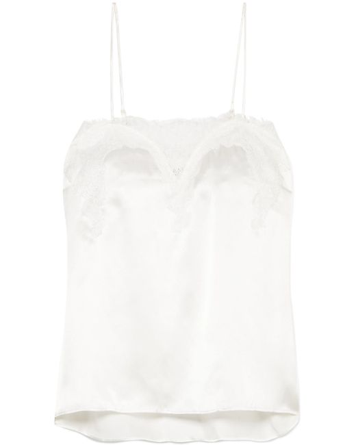 Cami NYC - White Sweetheart Lace-trimmed Silk-charmeuse Camisole - Lyst