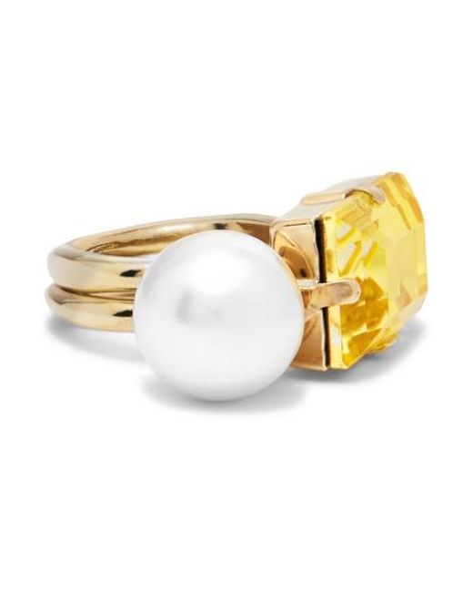 Dries Van Noten - Yellow Gold-tone, Faux Pearl And Crystal Ring - Lyst