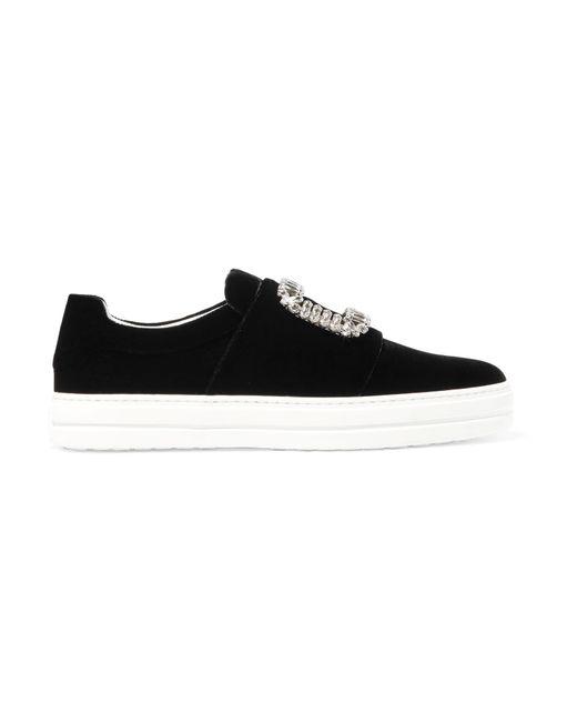 Roger Vivier - Black Sneaky Viv Crystal-embellished Velvet Slip-on Sneakers - Lyst