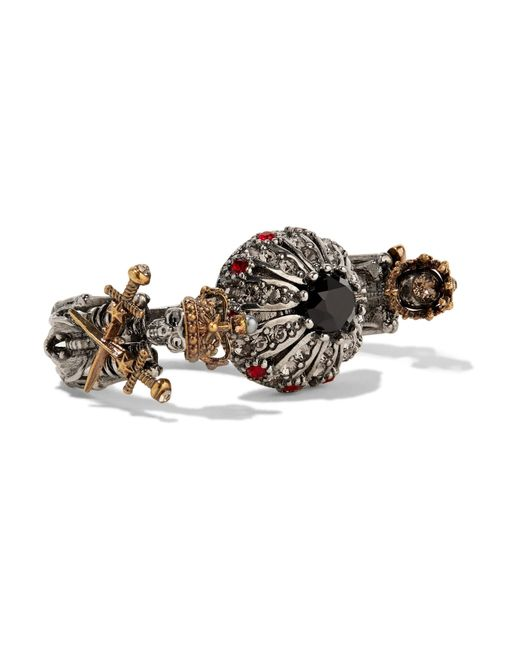 Alexander McQueen | Metallic Silver And Gold-plated, Swarovski Crystal And Faux Pearl Two-finger Ring | Lyst