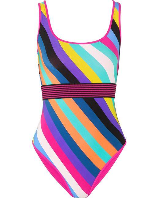 Diane von Furstenberg | Purple Belted Striped Swimsuit | Lyst