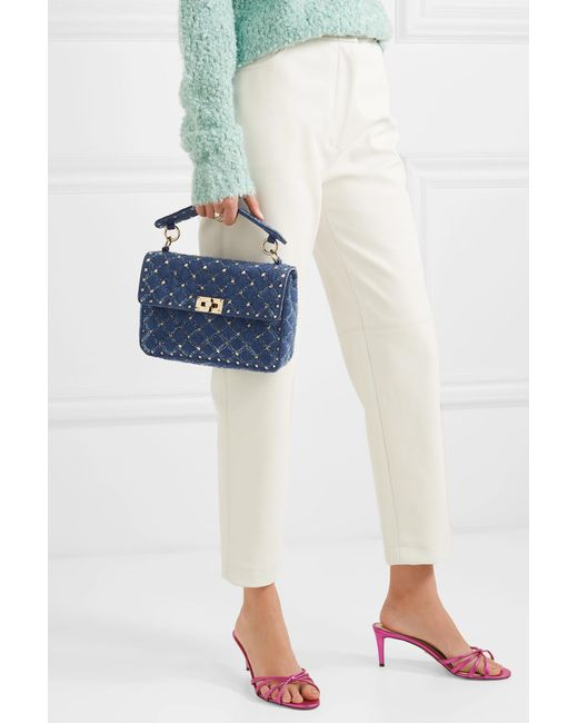 1d5430ca6eab ... Valentino - Blue Garavani The Rockstud Spike Medium Quilted Denim  Shoulder Bag - Lyst ...
