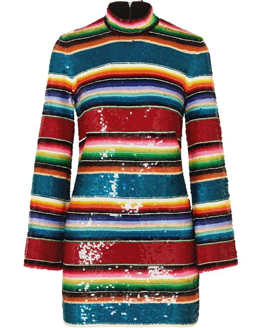 Ashish - Red Striped Sequined Cotton Mini Dress - Lyst