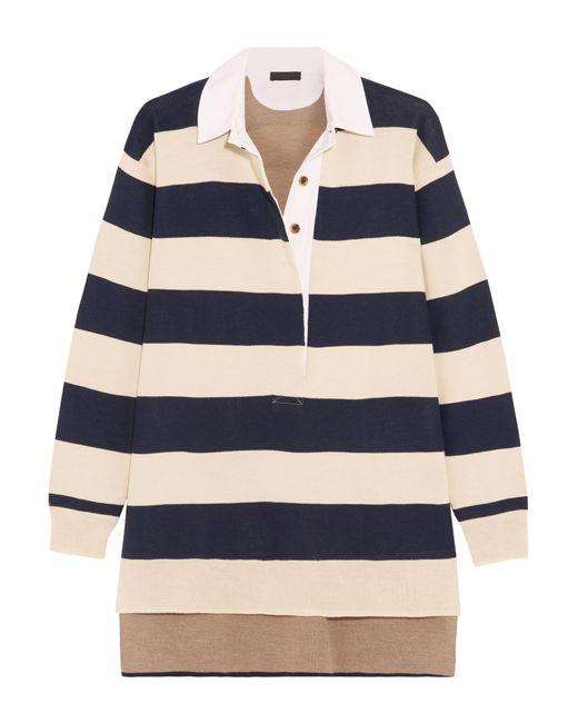 J.Crew | Blue Garret Oversized Striped Merino Wool Polo Top | Lyst
