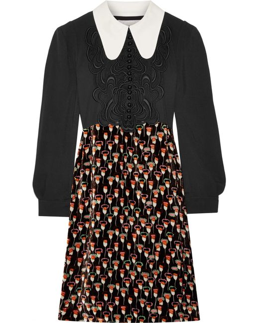 Chloé | Black Embroidered Cady And Printed Velvet Mini Dress | Lyst