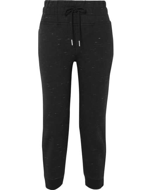 Adidas By Stella McCartney - Black Essentials Marled Organic Cotton-blend Jersey Track Pants - Lyst
