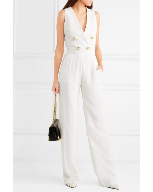b7a5aa616dc ... Balmain - White Button-embellished Crepe Jumpsuit - Lyst ...