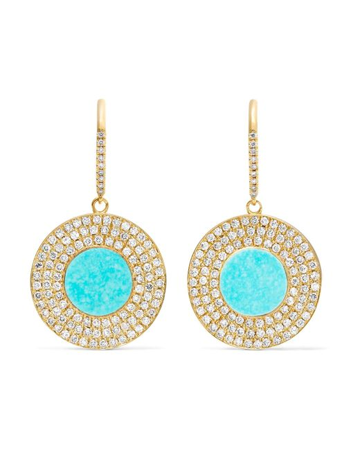 Jennifer Meyer | Metallic 18-karat Gold, Turquoise And Diamond Earrings | Lyst