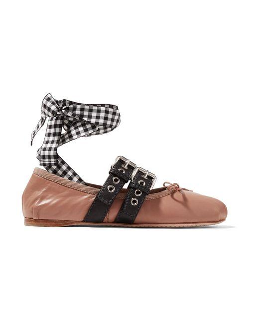 Miu Miu   Pink Lace-up Leather Ballet Flats   Lyst