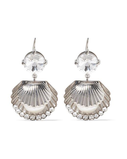 Miu Miu | Metallic Silver-tone, Swarovski Crystal And Faux Pearl Earrings | Lyst