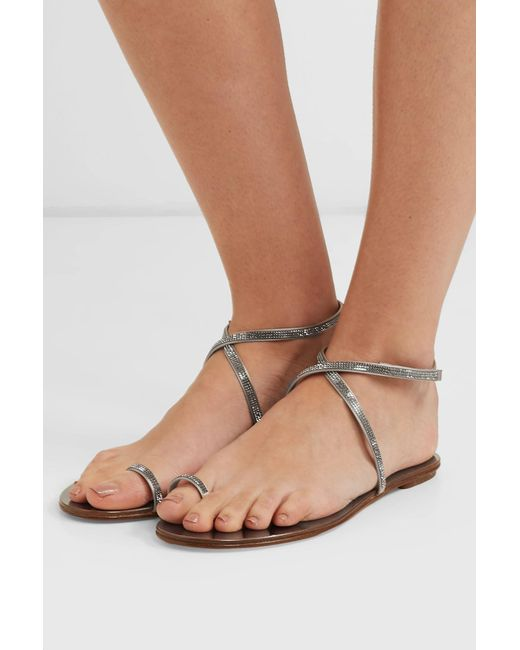 402d2e2890f24 ... Pedro Garcia - Metallic Sonay Crystal-embellished Satin Sandals - Lyst  ...