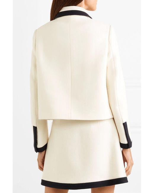 8eb6b36eb4c ... Miu Miu - White Faux Pearl-embellished Wool-crepe Jacket - Lyst ...