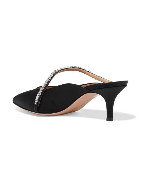 55 Crystal-embellished Satin Mules - Black Gianvito Rossi 26A1OPzt