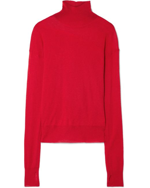 Helmut Lang - Red Wool And Silk-blend Turtleneck Sweater - Lyst