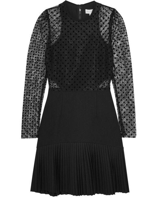 Rebecca Vallance | Black Gabriella Flocked Lace And Crepe Mini Dress | Lyst