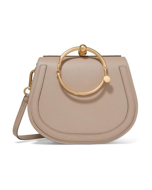 Chloé - Gray Nile Bracelet Medium Textured-leather And Suede Shoulder Bag - Lyst
