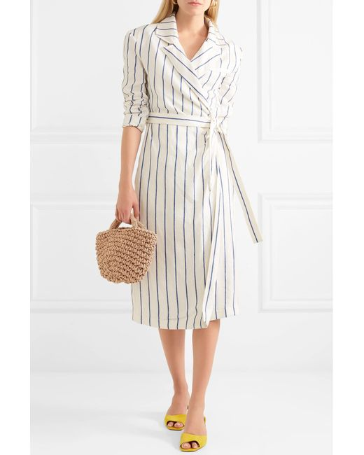 Striped Linen Wrap Dress - White Rosie Assoulin Cheap Sale Fast Delivery Clearance Outlet Locations 2018 New ZOC1Q