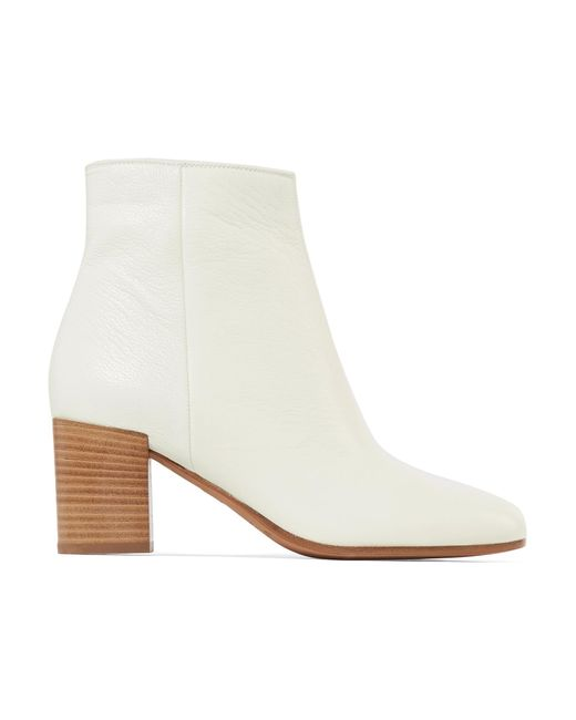 Vince - White Blakely Textured-leather Ankle Boots - Lyst