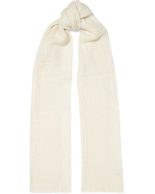 Portolano - White Cable And Waffle-knit Cashmere Scarf - Lyst