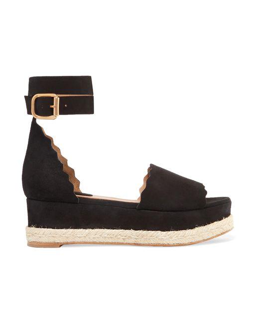 4019b2d4371 Chloé - Black Lauren Scalloped Suede Espadrille Platform Sandals - Lyst ...