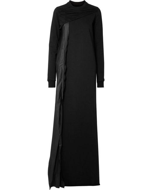 ed56b30348 Rick Owens - Black Shell-trimmed Cotton-jersey Maxi Dress - Lyst ...